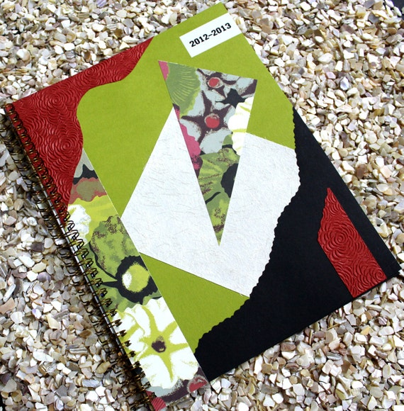 Large Planner Agenda 2012 2013 with Lime Green Cover