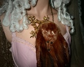 dramatic stone marten necklace marie antoinette inspired fur tails face and feet vintage