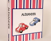 3-Ring Binder, Personalized, Boy, Race Cars, Stripes, Back To School, School Supplies, Red, Blue, White
