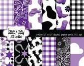 digital scrapbook papers - purple, white, and black cowgirl party patterns - INSTANT DOWNLOAD