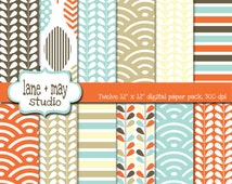 digital scrapbook papers - modern leaf, wave and stripe patterns  - INSTANT DOWNLOAD