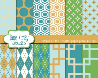 digital scrapbook papers - blue, green and orange geometric patterns - INSTANT DOWNLOAD