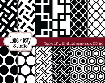 digital scrapbook papers - black and white modern geometric patterns - INSTANT DOWNLOAD