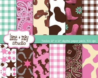 digital scrapbook papers - pink, brown, and aqua cowgirl themed - INSTANT DOWNLOAD