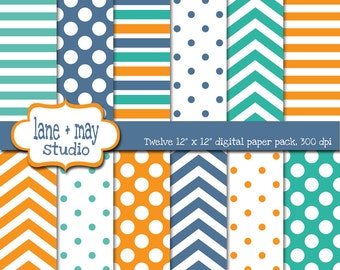 digital papers - aqua green, orange and blue patterns - INSTANT DOWNLOAD