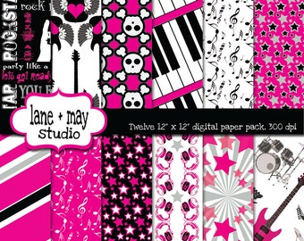 digital scrapbook papers - hot pink, black and gray party like a rockstar patterns - INSTANT DOWNLOAD