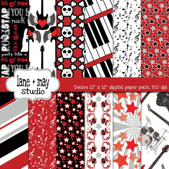 digital scrapbook papers - red, black and gray party like a rockstar - INSTANT DOWNLOAD
