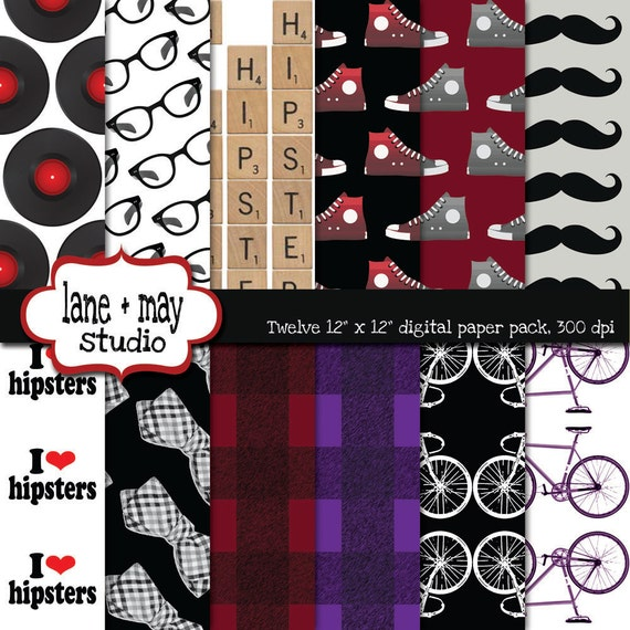 digital papers - hipster theme patterns - red, black and purple - INSTANT DOWNLOAD