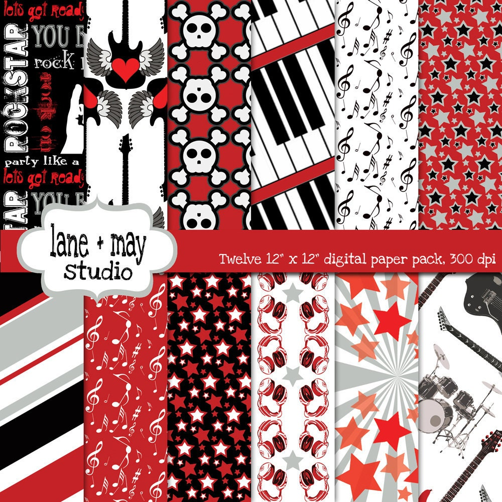 Scrapbook paper etsy - Digital Scrapbook Papers Red Black And Gray Party Like A Rockstar Instant Download