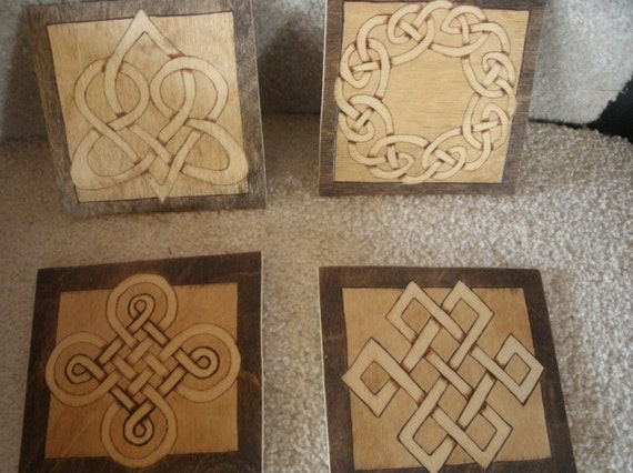 Coasters Celtic knots Woodburned Pyrography Set