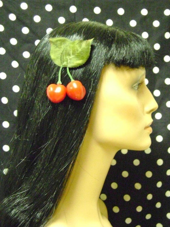 Rockabilly Pinup Girl Red Double Cherries Hair Clip Accessory