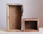 Rustic Wooden Planter/Boxes Made from Reclaimed Recycled Wood - Set of 2