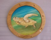 Sea Turtle Sea Life Wood Art Intarsia Wood Mosaic Segmentation Wall Hanging Acrylic Painting