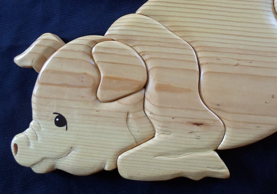Pig Wall Hanging Wood Art Intarsia