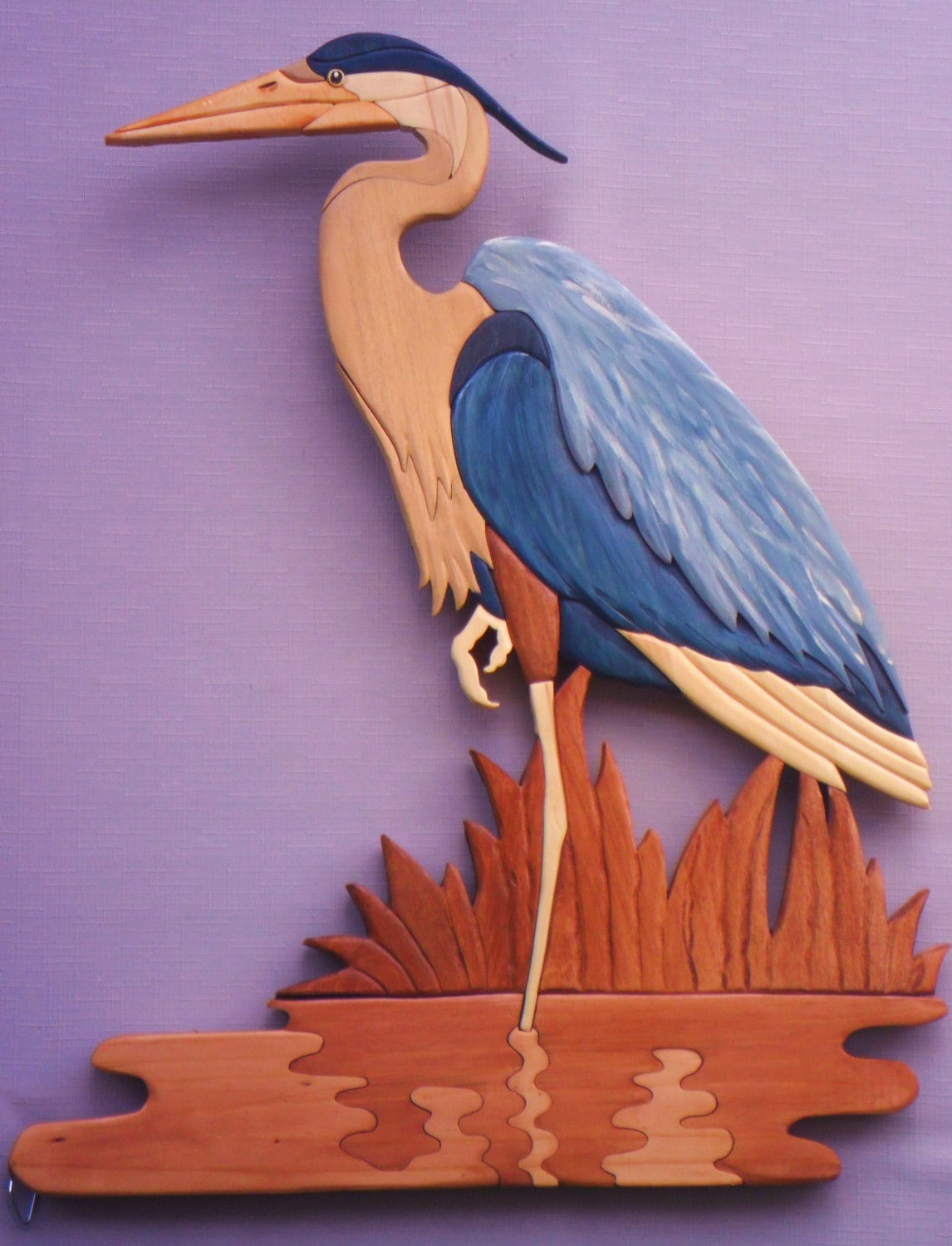 Blue Heron Waterbird Crane Wood Art Intarsia By