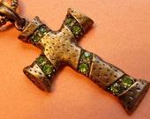 Moss GREEN CRYSTAL Brasstone CROSS Pendant