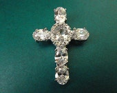 Topaz Silvertone Cross Genuine Gemstone SPECTACULAR Cross Pendant