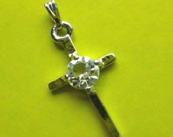 Petite 18K WhiteGold & CZ Cross Pendant with FREE 18KGP Neck Chain