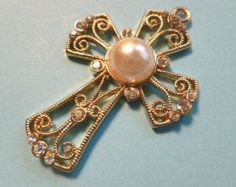 Pearl & Rhinestone Fancy Cross Openwork Goldtone Fleur di Lis Cross Pendant