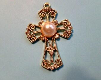 Pearl & Rhinestone Fancy Cross, Pearl and Gold Cross, Openwork Goldtone Cross,  Fleur di Lis Cross Pendant, Focal Cross Pendant
