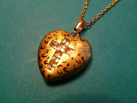 Cubic Zirconia Cross in 9K Gold Heart Locket Pendant with FREE Neckchain