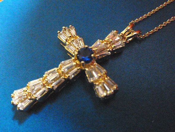 CZs & Sapphire Cross 14K Goldplated Hallmarked Cross Pendant with FREE Neck Chain