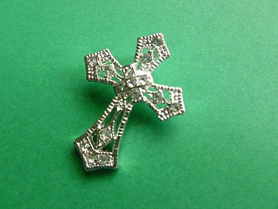 Fancy Petite Silver Filligree Cross Adorned with Crystals