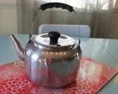 Vintage Farberware Stainless Teakettle Faceted Body Tea Kettle Pot 7020 Black handle