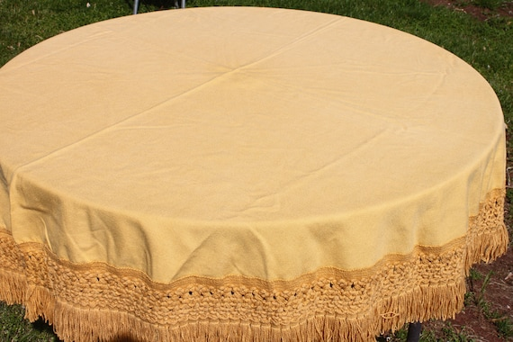 "RESERVED -   SWEET Vintage 1960s 1970s Mustard Harvest Yellow Tablecloth with Large Fringe 70"" Round Table Cloth"