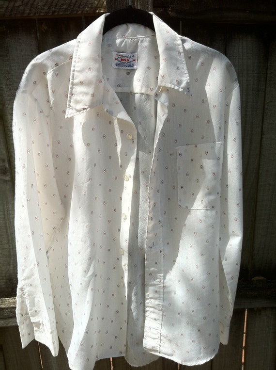 Vintage mens 1960s white long sleeve button up, novelty dot print, retro large
