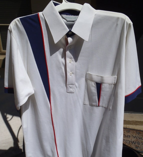 Vintage white men's polo shirt with red and blue stripe detail, L