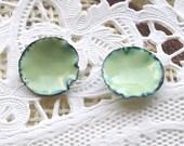 Enamel Lichen Green Post Earrings