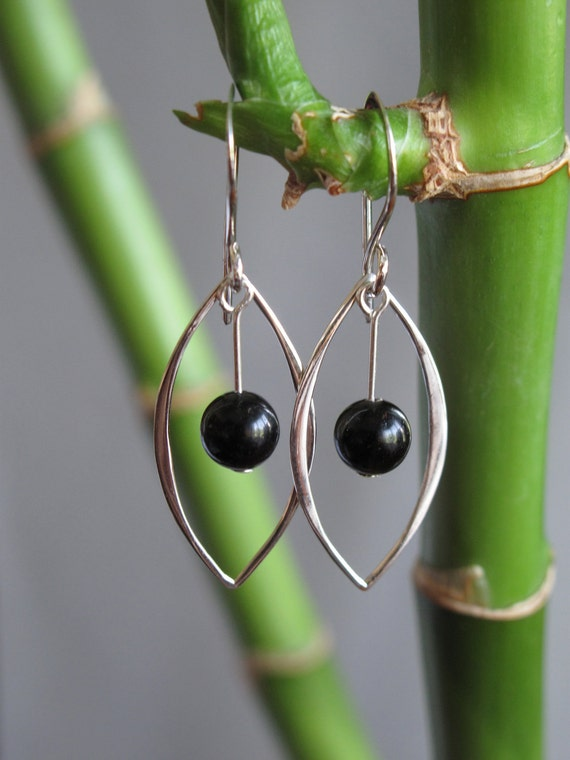 Sterling Silver Marquis with Black Obsidian Dangle