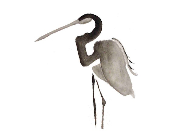 egret ink painting // matted print