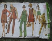 VINTAGE Simplicity 1970'Ss Classic Seventies Dress making Pattern Size UK 7/8 US 4 Mini Skirt Long Waistcoat Trousers Blouse.