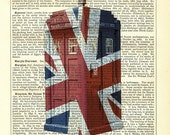 Doctor Who Tardis with Union Jack Flag Dictionary Art Print Vintage Upcycled Book Page