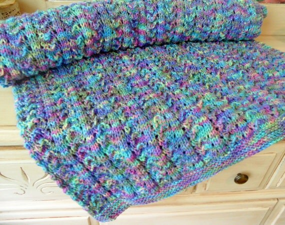 Stormy Sky Multicolor Knitted Afghan