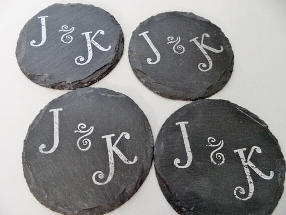 Initials Circle Slate Coasters (Set of 4) Wedding, Engagement, Housewarming