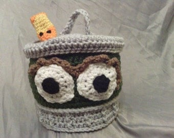 Oscar the Grouch Like Style Crochet baby hat with his pet worm Slimey Photo Prop