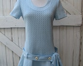 60s Baby Blue Dropped Waist Mini Dress with Belt and Bow