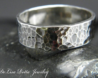 Recycled Silver, Rustic, Hammered, Ring, Band, Gift