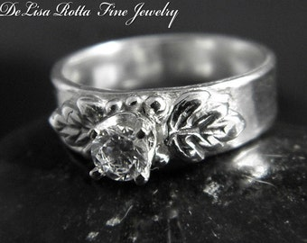 Recycled Silver, Rose, Diamond Alternative, Engagement Ring