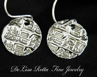 Recycled Pure Silver Chineese Character Earrings