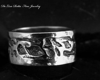 Recycled Silver Hand Carved Ring Wedding Band