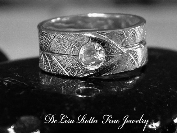 Recycled Silver Leaf Wedding Enganement Ring Band With Diamond Alternative