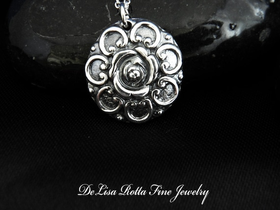 Recycled Silver, Antique, Rose, Pendant, Victorian Style, Necklace, Gift