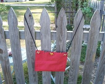 BURNT ORANGE Shoulder Bag with Beading and Horse Trim