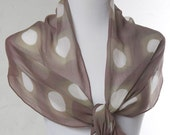 Grey and Taupe Silk Scarf in Modern Hand Dyed Shibori Circle Pattern Spring Fashion