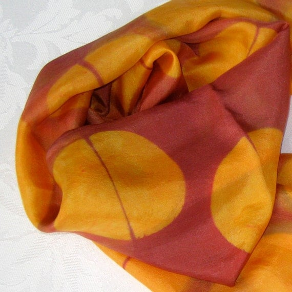 Autumn Silk Scarf Hand Dyed in Rust and Gold Shibori Circle Print
