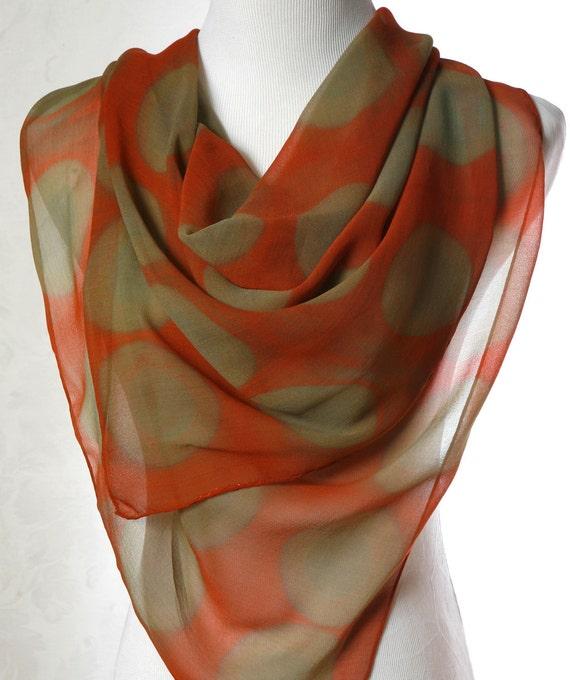 Hand Dyed Silk Scarf in Modern Shibori Rust and Tan Circles silk scarf.